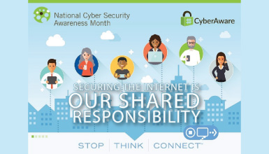 Cybersecurity infographic with illustrated characters using various forms of electronic devices