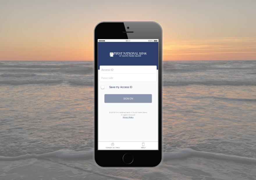 Mockup of First national bank of south padre island mobile app on smartphone screen