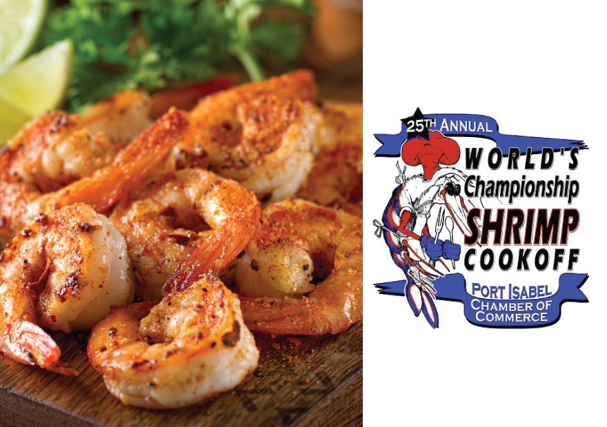 Shrimp championship cookoff logo and plate of cooked shrimp